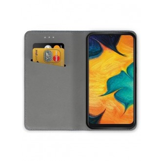"Juodos spalvos atverčiamas dėklas Samsung Galaxy A205 A20 / A305 A30 telefonui ""Smart Magnet"""