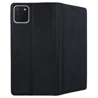 """Juodos spalvos atverčiamas dėklas Samsung Galaxy S10 Lite / A91 telefonui """"Smart Magnet"""""""