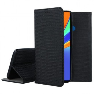 """Juodos spalvos atverčiamas dėklas Xiaomi Redmi 9C telefonui """"Smart Magnet"""""""