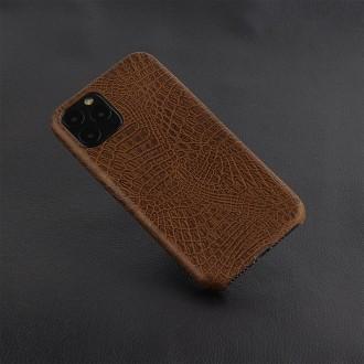 Rudas dirbtinės odos Krokodilo rašto dėklas telefonui Iphone 11