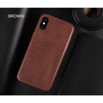 Rudas, Krokodilo Odos Imitacijos Dėkliukas iPhone X / XS Telefono Modeliui