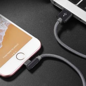 Metalinis pilkas USB kabelis Borofone BX26 Lightning 1.0m