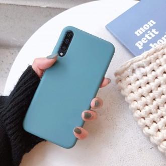 """Pilkai mėlynas silikoninis dėklas Samsung Galaxy A705 A70 telefonui """"Rubber TPU"""""""