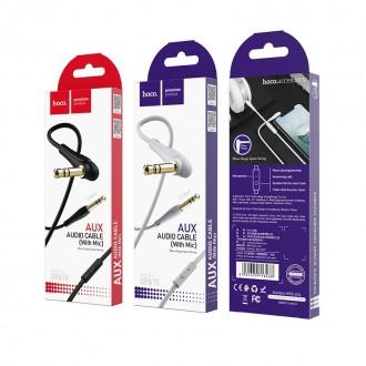 Pilkas Audio adapteris Hoco UPA15 AUX 3,5mm į 3,5mm su mikrofonu