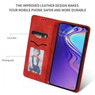 """Raudonas atverčiamas dėklas Samsung Galaxy A105 A10 telefonui """"Business Style"""""""