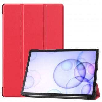 """Raudonas atverčiamas dėklas Samsung T860 / T865 Tab S6 """"Smart Leather"""""""
