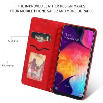 """Raudonas atverčiamas dėklas Samsung Galaxy A505 A50 / A507 A50s / A307 A30s telefonui """"Business Style"""""""