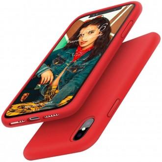 """Raudonas silikoninis dėklas Apple iPhone X / XS telefonui """"Liquid Silicone"""" 2.0mm"""