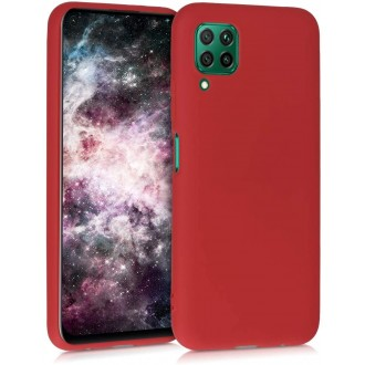 """Raudonas silikoninis dėklas Huawei P40 Lite telefonui """"Liquid Silicone"""" 1.5mm"""