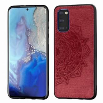 Raudonas silikoninis dėklas su medžiaginiu atvaizdu Samsung Galaxy G981 S20 telefonui