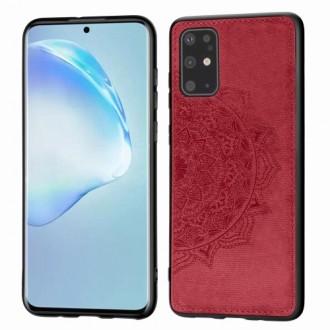 Raudonas silikoninis dėklas su medžiaginiu atvaizdu Samsung Galaxy G986 S20 plus telefonui