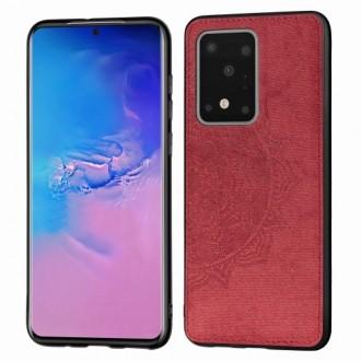 Raudonas silikoninis dėklas su medžiaginiu atvaizdu Samsung Galaxy G988 S20 Ultra telefonui