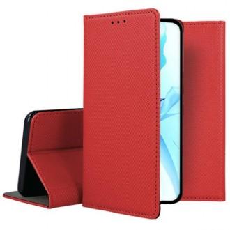 """Raudonos spalvos atverčiamas dėklas Apple iPhone 12 / 12 Pro telefonui """"Smart Magnet"""""""