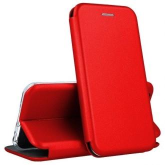 """Raudonos spalvos atverčiamas dėklas Huawei P40 Lite telefonui """"Book elegance"""""""