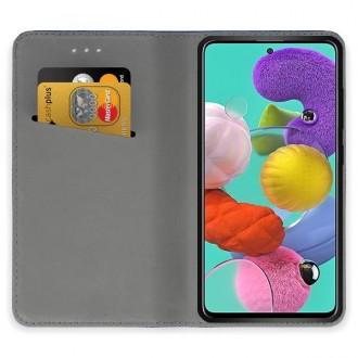"""Raudonos spalvos atverčiamas dėklas Samsung Galaxy A51 telefonui """"Smart Magnet"""""""