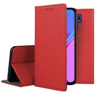 """Raudonos spalvos atverčiamas dėklas Xiaomi Redmi 9 telefonui """"Smart Magnet"""""""