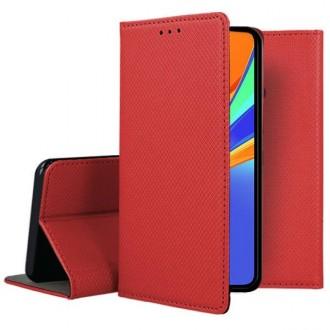 """Raudonos spalvos atverčiamas dėklas Xiaomi Redmi 9C telefonui """"Smart Magnet"""""""