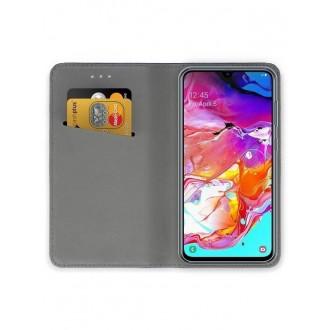 """Rožinės-Auksinės spalvos atverčiamas dėklas Samsung Galaxy A705 A70 telefonui """"Smart Magnet"""""""