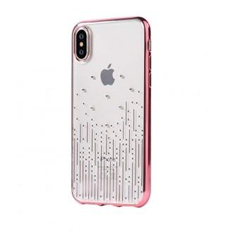 """Rožinės-Auksinės spalvos dėklas""""Devia Meteor Crystal"""" Apple iPhone X / XS telefonui"""