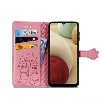 """Rožinis atverčiamas dėklas """"Šunys/Katės"""" telefonui Xiaomi Redmi 9"""