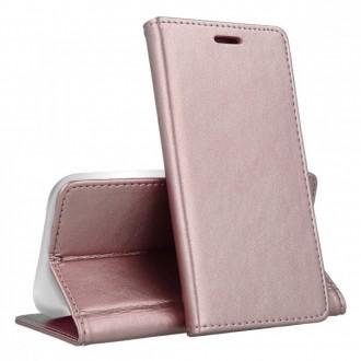 """Rožinis-auksinis atverčiamas dėklas LG K50s telefonui """"Magnetic book"""""""