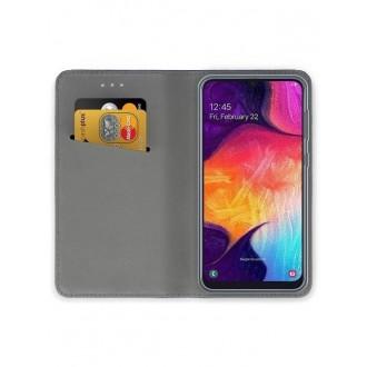 """Rožinis-auksinis atverčiamas dėklas Samsung Galaxy A505 A50 telefonui """"Smart Magnet"""""""