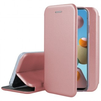 """Rožinis-auksinis atverčiamas dėklas Samsung Galay A217 A21s telefonui """"Book Elegance"""""""