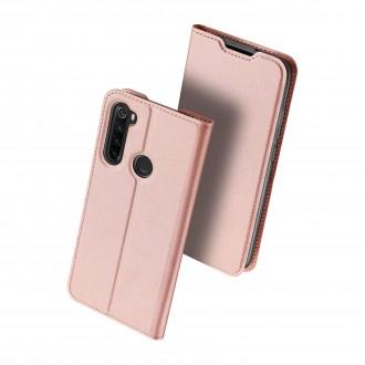 """Rožinis-auksinis atverčiamas dėklas Xiaomi Redmi Note 8 telefonui """"Dux Ducis Skin"""""""
