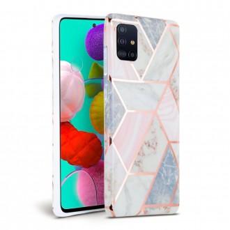 """Rožinis dėklas """"Tech-Protect Marble"""" Samsung Galaxy A71 telefonui"""