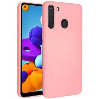 """Rožinis silikoninis dėklas Samsung Galaxy A21 telefonui """"Liquid Silicone"""" 1.5mm"""