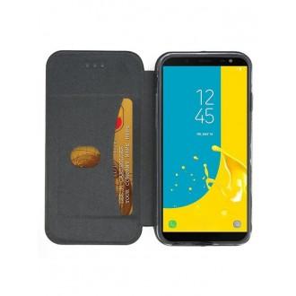 """Sidabrinis atverčiamas dėklas Samsung Galaxy J600 J6 2018 telefonui """"Book Elegance"""""""