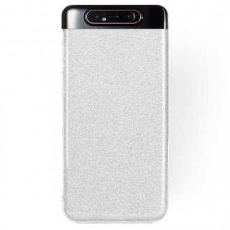 "Sidabrinis blizgantis silikoninis dėklas Samsung Galaxy A805 A80 telefonui ""Shining"""