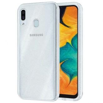 """Permatomas silikoninis dėklas su blizgučiais Samsung Galaxy A305 A30 telefonui """"Glitter Crystal case"""""""