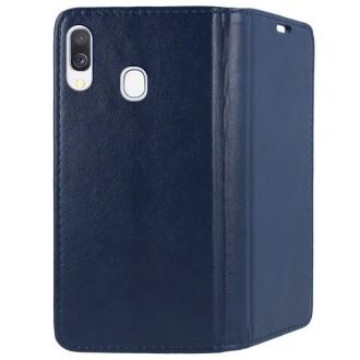"""Tamsiai mėlynas atverčiamas dėklas Samsung Galaxy A405 A40 telefonui """"Magnetic book"""""""