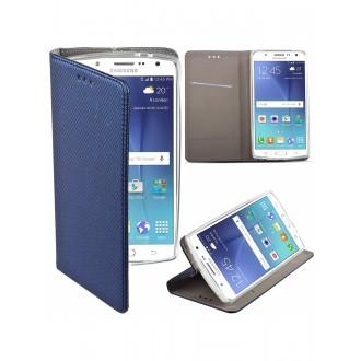 """Tamsiai mėlynas atverčiamas dėklas Samsung Galaxy J500 J5 telefonui """"Smart Magnet"""""""