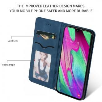 """Tamsiai mėlynas atverčiamas dėklas Samsung Galaxy A405 A40 telefonui """"Business Style"""""""