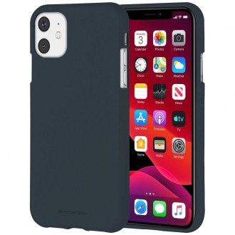"Tamsiai mėlynas silikoninis dėklas Apple iPhone 11 telefonui ""Mercury Soft Feeling"""