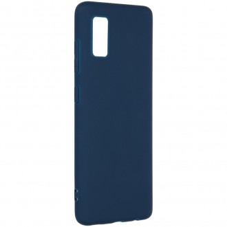 "Tamsiai mėlynas silikoninis dėklas Samsung Galaxy A41 telefonui ""Liquid Silicone"" 1.5mm"