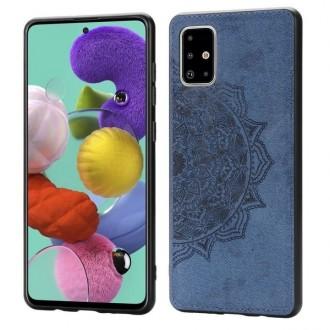 Tamsiai mėlynas silikoninis dėklas su medžiaginiu atvaizdu Samsung Galaxy A515 A51 telefonui