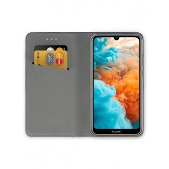 """Tamsiai mėlynos spalvos atverčiamas dėklas Huawei Y6 2019 / Y6 Pro 2019 telefonui """"Smart Magnet"""""""