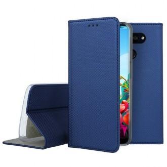 """Tamsiai mėlynos spalvos atverčiamas dėklas LG K40S telefonui """"Smart Magnet"""""""