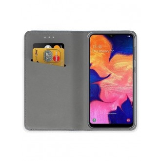 """Tamsiai mėlynos spalvos atverčiamas dėklas Samsung Galaxy A105 A10 telefonui """"Smart Magnet"""""""