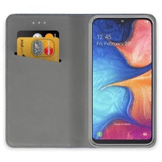 """Tamsiai mėlynos spalvos atverčiamas dėklas Samsung Galaxy A202 A20e telefonui """"Smart Magnet"""""""