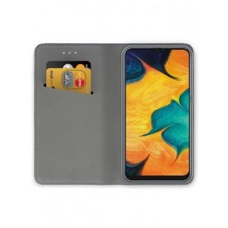 """Tamsiai mėlynos spalvos atverčiamas dėklas Samsung Galaxy A205 A20 / A305 A30 telefonui """"Smart Magnet"""""""