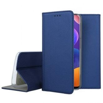 """Tamsiai mėlynos spalvos atverčiamas dėklas Samsung Galaxy A31 telefonui """"Smart Magnet"""""""