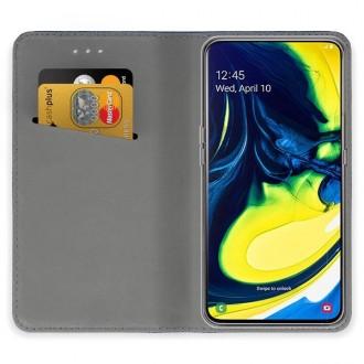 """Tamsiai mėlynos spalvos atverčiamas dėklas Samsung Galaxy A805 / A905 A80 / A90 telefonui """"Smart Magnet"""""""