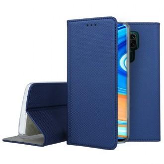 """Tamsiai mėlynos spalvos atverčiamas dėklas Xiaomi Redmi Note 9 telefonui """"Smart Magnet"""""""