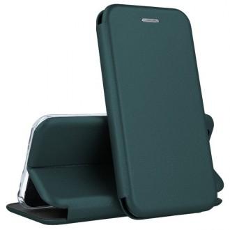 """Tamsiai žalios spalvos atverčiamas dėklas Xiaomi Redmi Note 9 telefonui """"Book elegance"""""""