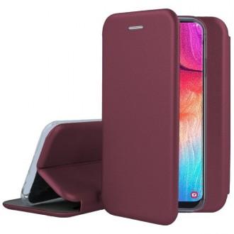 """Vyno raudonos spalvos atverčiamas dėklas Samsung Galaxy A515 A51 telefonui """"Book Elegance"""""""