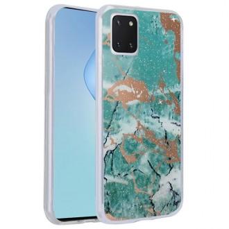 """Žalias silikoninis dėklas Samsung Galaxy Note 10 Lite / A81 telefonui """"Marmur"""""""